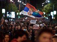 Акция протеста против премьер-министра Александра Вучича в Белграде