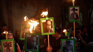 Акция протеста против убийства журналиста Хавьера Вальдеса