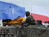 Флаг Польши и НАТО на польском танке во время совместных учений
