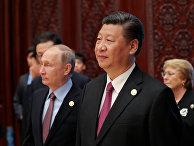 Президент России Владимир Путин и председатель КНР Си Цзиньпин на форуме «Один пояс, один путь» в Пекине