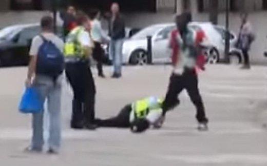 Британская полиция борется с мигрантом