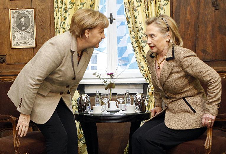 Госсекретарь США Хиллари Клинтон и канцлер Германии Ангела Меркель