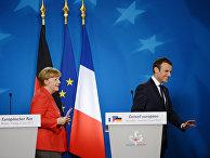 Канцлер ФРГ Ангела Меркель и президент Франции Эммануэль Макрон на саммите ЕС в Брюсселе