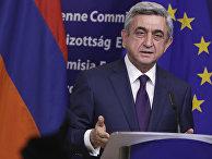 Президент Армении Серж Саргсян на пресс-конференции в штаб-квартире ЕС в Брюсселе, 2012 год