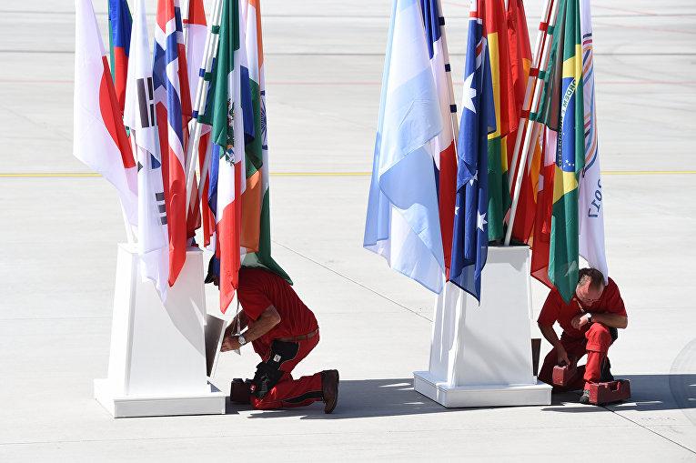 Флаги государств-участников саммита G20 в Гамбурге. 4 июля 2017