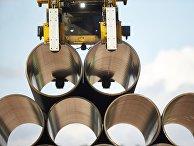 Трубы на заводе по обетонированию в Котке, Финляндия