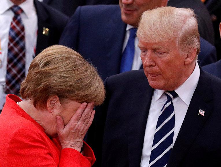 Канцлер Германии Ангела Меркель и президент США Дональд Трамп в ходе саммита G20 в Гамбурге