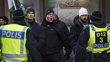 Столкновения полиции и нео-нацистов в центре Стокгольма