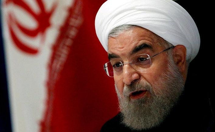 Президент Ирана Хасан Роухани на пресс-конференции в Нью-Йорке