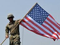 Американский солдат во время официальной церемонии закрытия учений НАТО Noble Partner