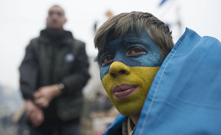 Участники акции сторонников евроинтеграции на Площади Независимости в Киеве
