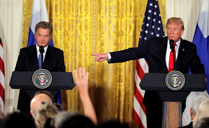 Президент США Дональд Трамп и президент Финляндии Саули Ниинистё на пресс-конференции в Белом доме