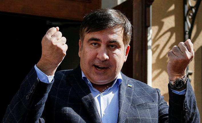 Бывший президент Грузии, экс-губернатор Одесской области Михаил Саакашвили во время пресс-конференции во Львове.