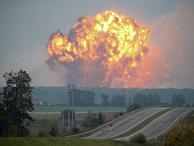 Пожар на складах боеприпасов в городе Калиновка