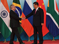 Президент Бразилии Мишел Темер во время церемонии встречи председателем КНР Си Цзиньпином лидеров БРИКС. 4 сентября 2017