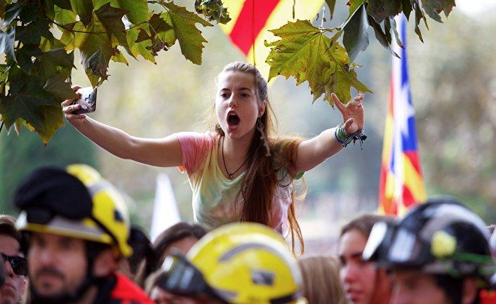 Всеобщая забастовка в поддержку референдума о независимости Каталонии в Барселоне