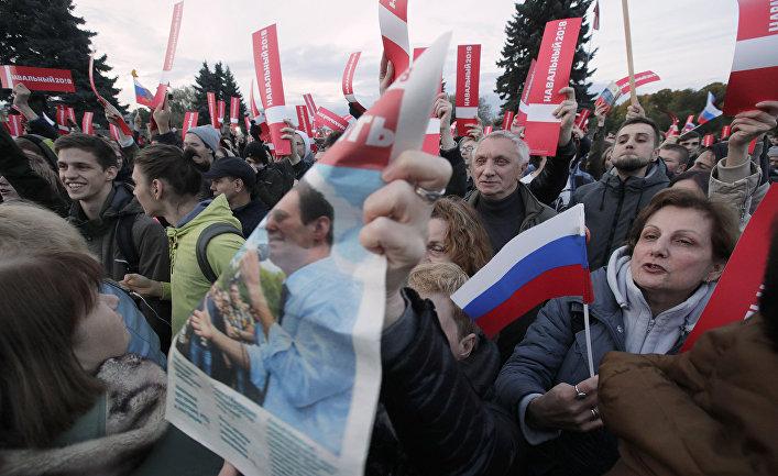 Митинг, организованный оппозиционером Алексеем Навальным в Санкт-Петербурге
