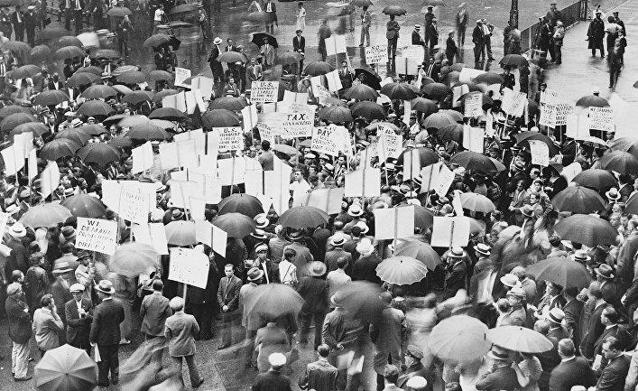 Толпа у Банка США после его краха в 1931 году
