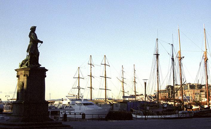 Яхты на приколе в заливе Осло-фьорд