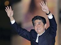 Премьер-министр Японии Синдзо Абэ во время предвыборного митинга в Токио