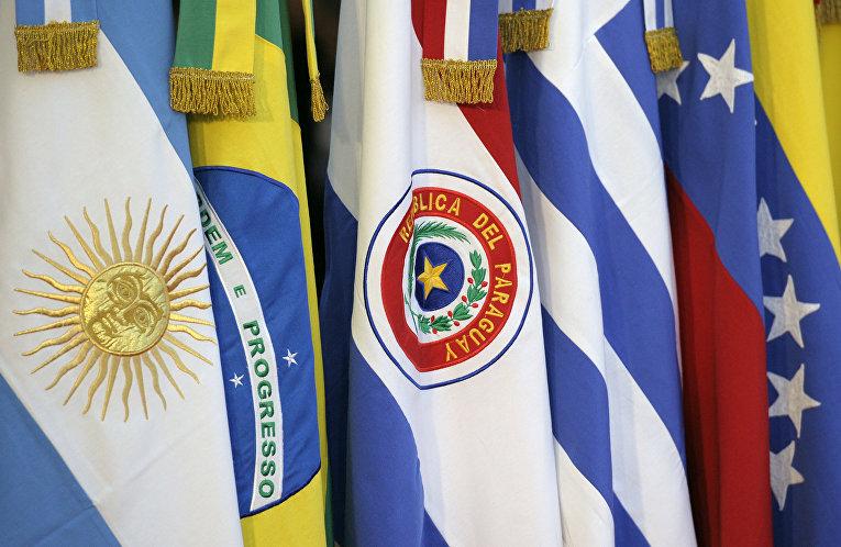 Флаги стран-участниц саммита Меркосур в Аргентине