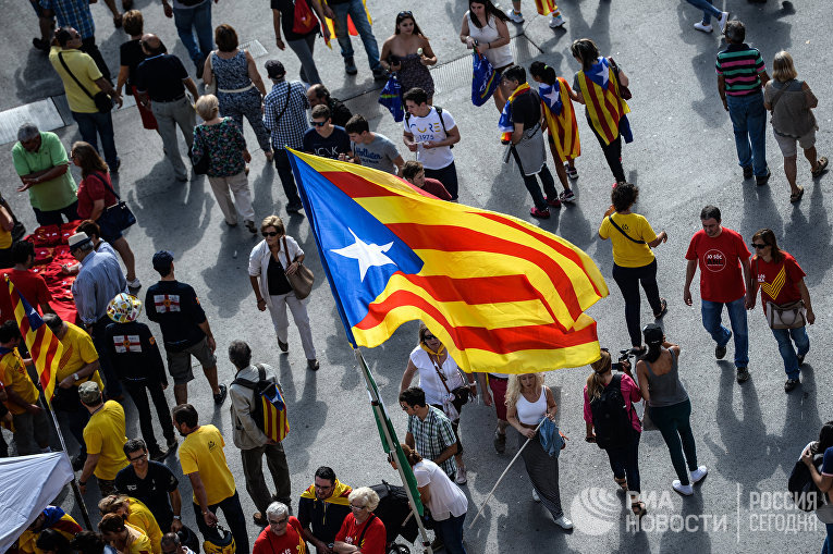 Акции в Барселоне в поддержку референдума о независимости Каталонии