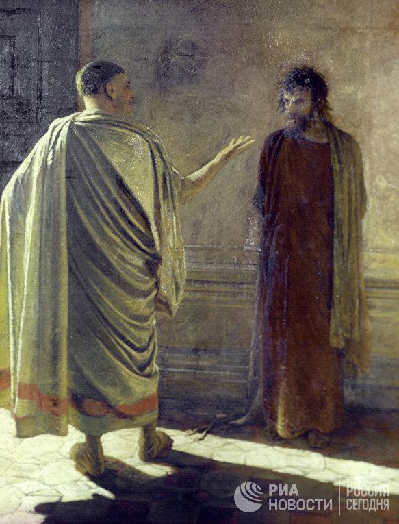 """Картина Ге """"Что есть истина? Христос и Пилат"""" из собрания Государственной Третьяковской галереи"""