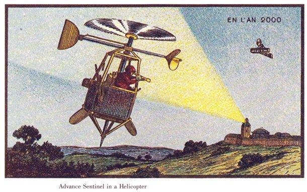 Карточка серии «Франция в 2000 году» — «Передовой разведчик на геликоптере»
