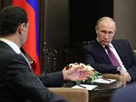 Президент РФ Владимир Путин и президент Сирии Башар Асад во время встречи
