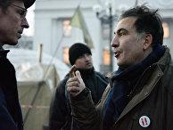 Бывший губернатор Одесской области Михаил Саакашвили отвечает на вопросы журналистов