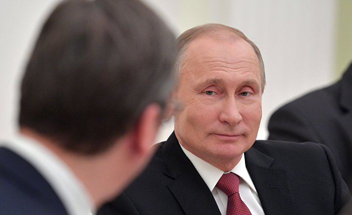 Президент РФ Владимир Путин во время встречи с президентом республики Сербии Александром Вучичем. 19 декабря 2017