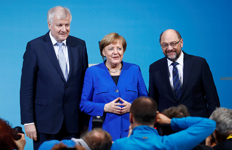 Ангела Меркель, Хорст Зеехофер и Мартин Шульц