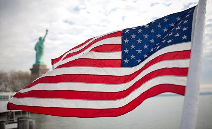Американский флаг на фоне статуи Свободы