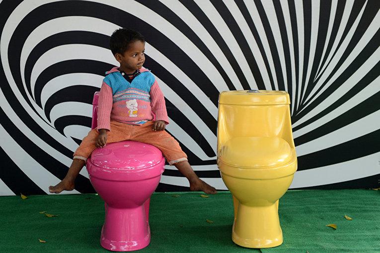Всемирный день туалета в Нью-Дейли в Индии