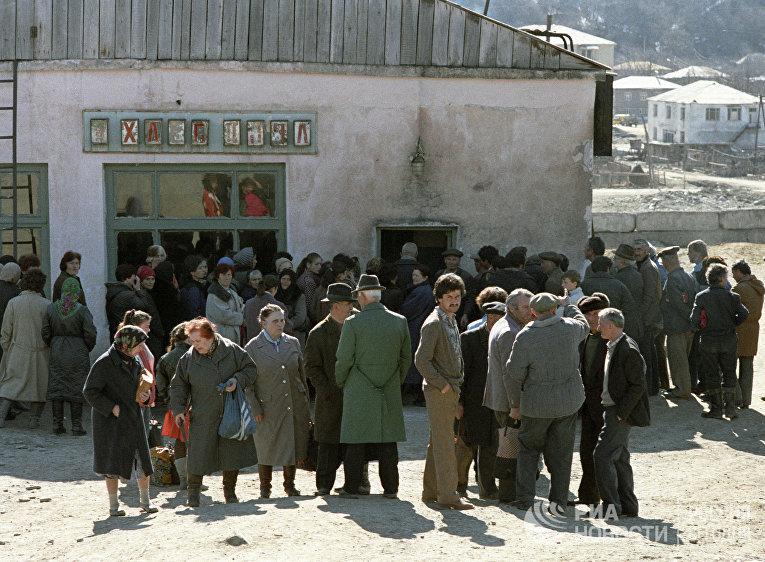 Жители Цхинвали в ожидании продуктов