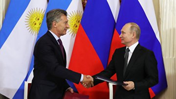 Встреча президентов РФ и Аргентины В. Путина и М. Макри
