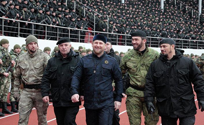 Глава Чеченской Республики Рамзан Кадыров вовремя проверки боеготовности подразделений специального назначения в Грозном, Чечня