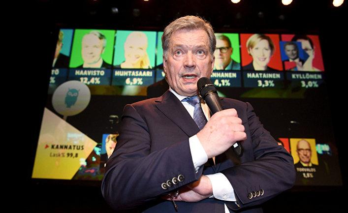 Кандидат в президенты Саули Ниинисто выступает в Хельсинки