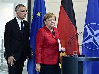 Генеральный секретарь НАТО Йенс Столтенберг и канцлер Германии Ангела Меркель