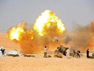 Военнослужащие сирийской армии ведут огонь по позициям боевиков ИГ* в провинции Дейр-эз-Зор, Сирия. 12 ноября 2017