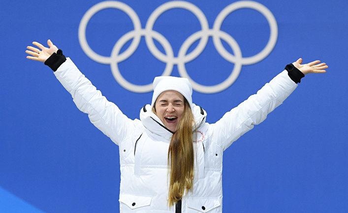 Российская спортсменка Юлия Белорукова, завоевавшая бронзовую медаль в спринте среди женщин по лыжным гонкам на XXIII зимних Олимпийских играх в Пхенчхане