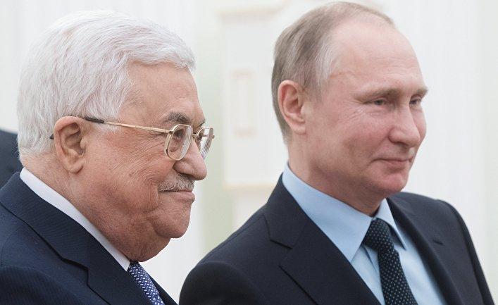 Президент РФ Владимир Путин и президент Палестины Махмуд Аббас во время встречи. 12 февраля 2018