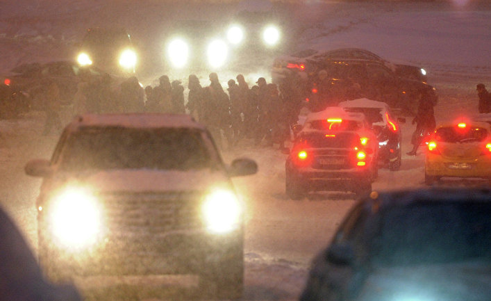 Обильный снегопад в Москве