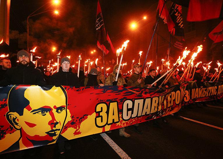 Участники марша националистов в Киеве