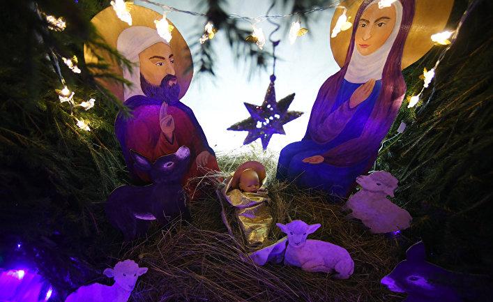 Рождественский вертеп в храме Сошествия Святого Духа в Казани
