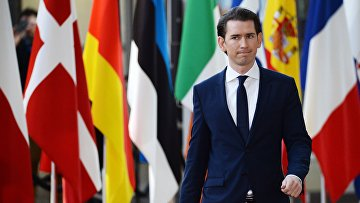 Канцлер Австрии Себастьян Курц во время саммита ЕС в Брюсселе
