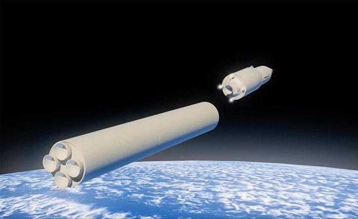Графическое изображение российского ракетного комплекса стратегического назначения с гиперзвуковым планирующим крылатым блоком