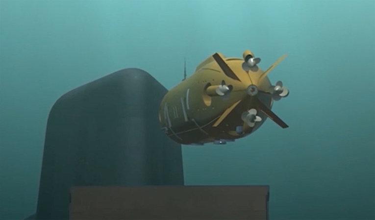Демонстрация принципа действия океанской многоцелевой системы с беспилотными подводными аппаратами во время послания президента РФ Владимира Путина Федеральному собранию