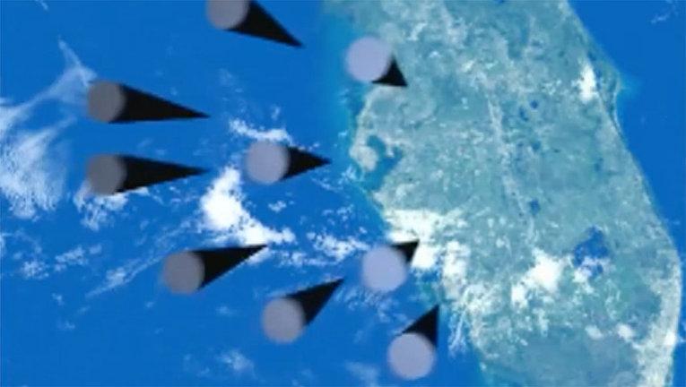 """Демонстрация принципа действия ракетного комплекса стратегического назначения """"Сармат"""" во время послания президента РФ Владимира Путина Федеральному собранию"""