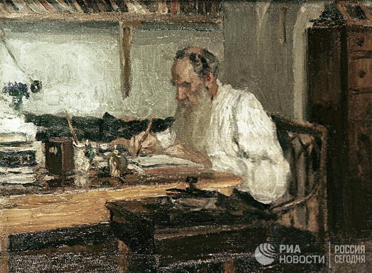 """Этюд художника Пастернака """"Толстой в Яснополянском кабинете"""""""